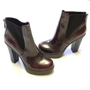 Steve Madden Burgundy Patent Leather Ankle Boots